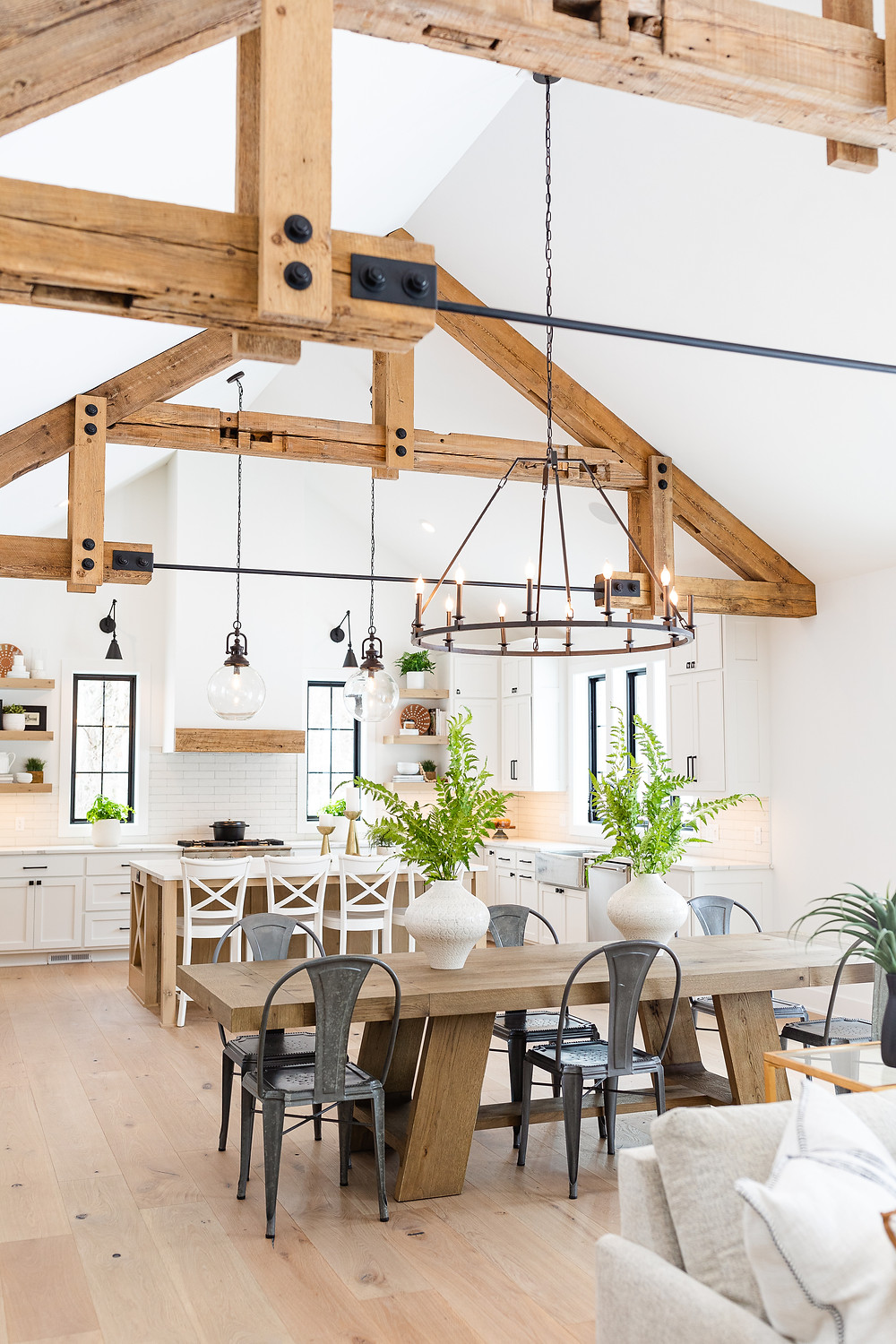 Rustic beams in the dining and kitchen