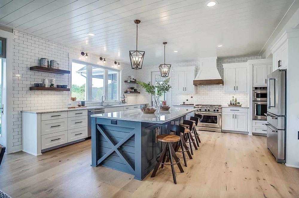 farmhouse kitchen subway tile wood shelves