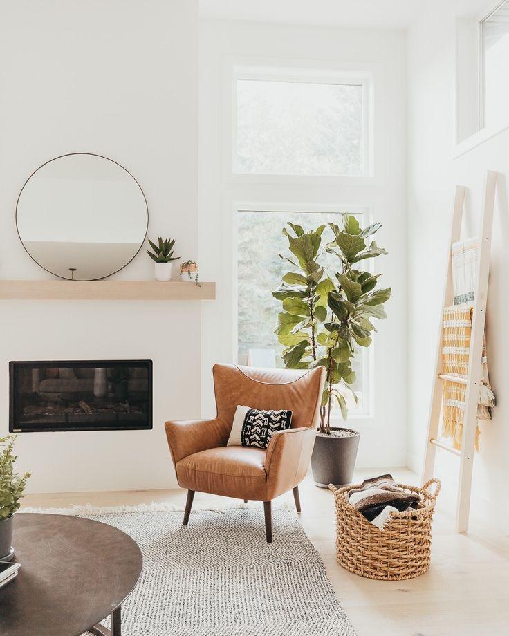 Living room Scandinavian design floating wood shelves