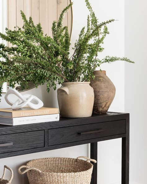 black console table plants wicker baskets