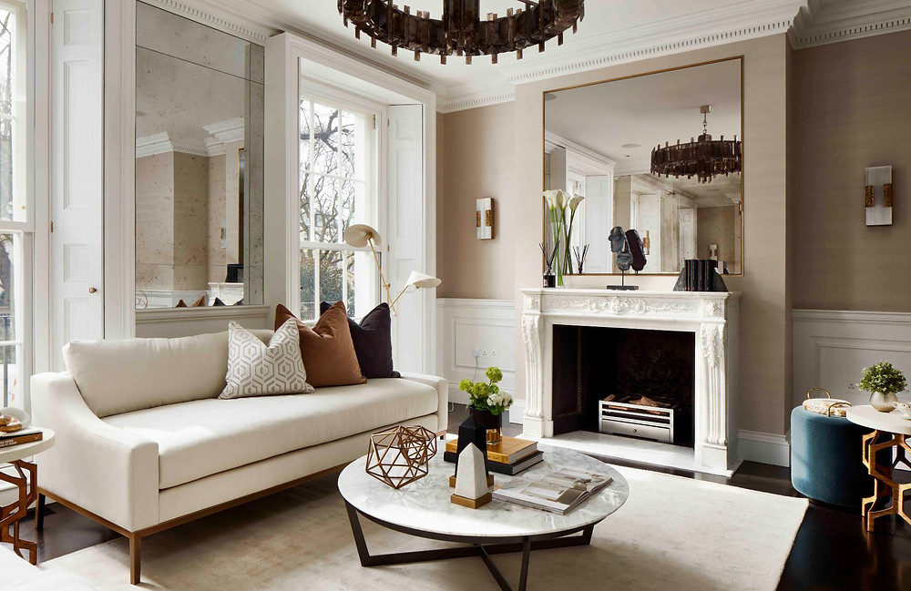 living room marble coffee table ornate fireplace