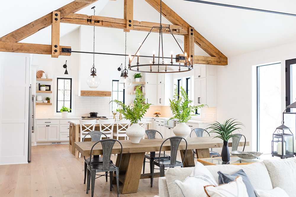 rustic beams, kitchen, dining room
