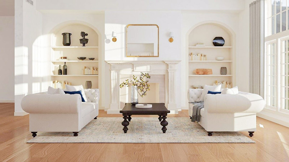 traditional design arched built-ins gold accents
