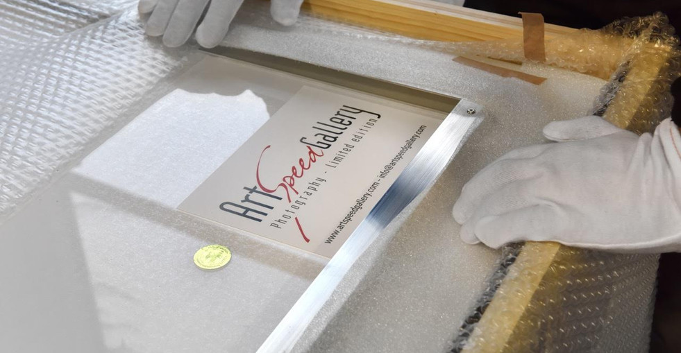 Each artwork is carefully packed in a tailor made wooden case