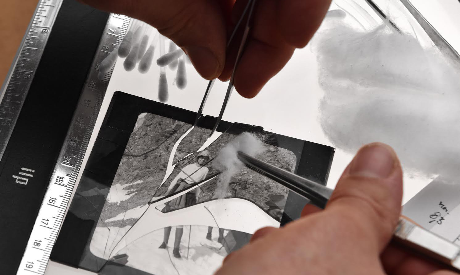 Handmade restoration of exceptional photo negatives