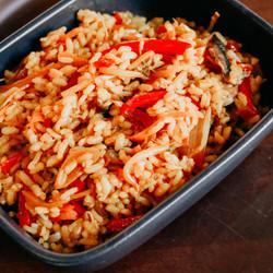 Arroz asiático con verduras