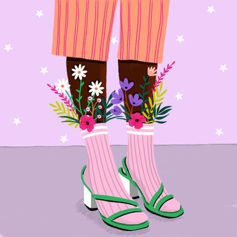Flowers socks ameliebroddes©