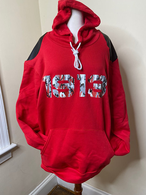 1913 Red Hoodie w/Vegan Leather