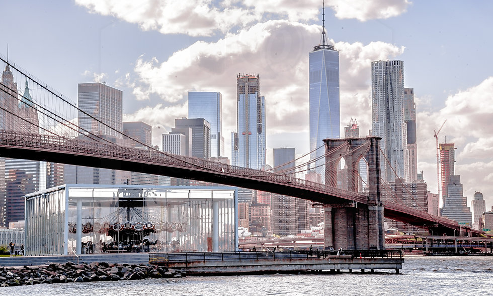 24 X 36 James Carousel at Brooklyn Bridge park and Freedom Tower