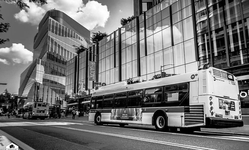 #38 bus route cityscape downtown Brooklyn. 24 x 36 sized portrait