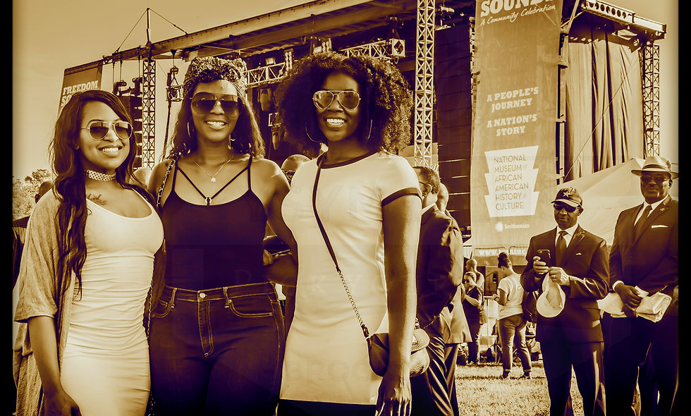 Three Ladies enjoying Freedom Sounds festival post cards