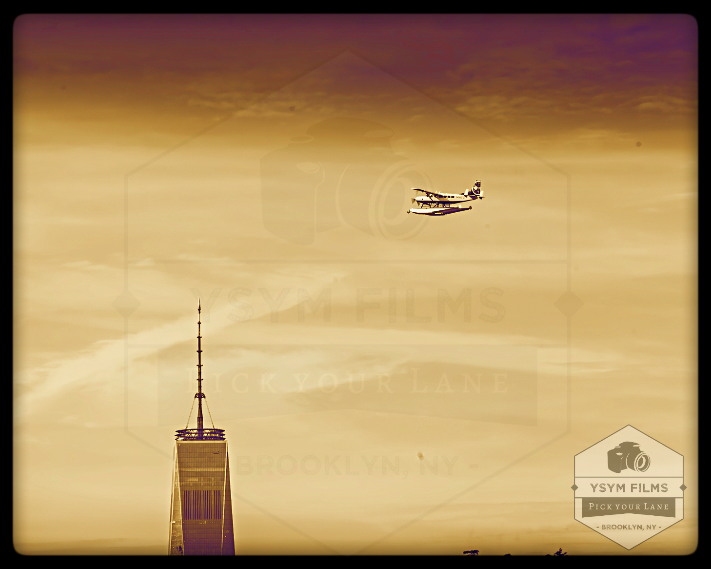 Water Plane Flying near the Freedom Tower