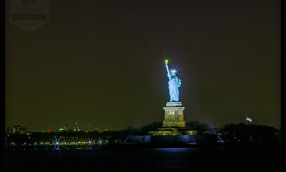 Lady Liberty illuminated at night.... NYC, Postcards pack of 20