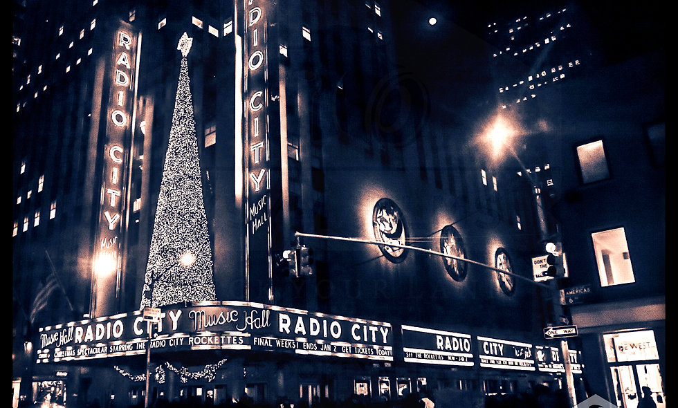 Vintage Holiday night shot of Radio City Music Hall