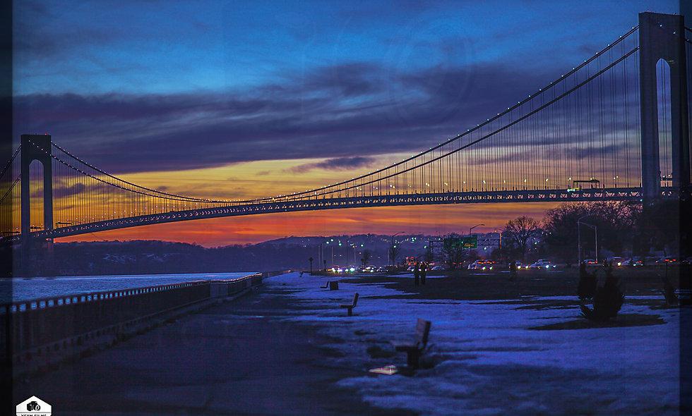 Verrazano Bridge Winter Sunset  Brooklyn. Postcards pack of 20