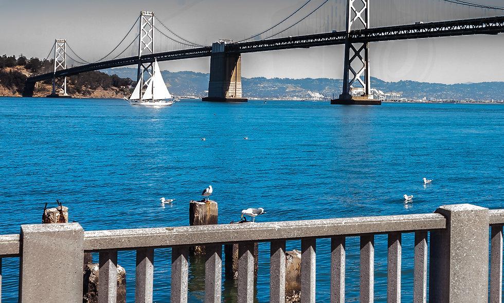 Post card...Oakland Bay bridge Down Town San Francisco