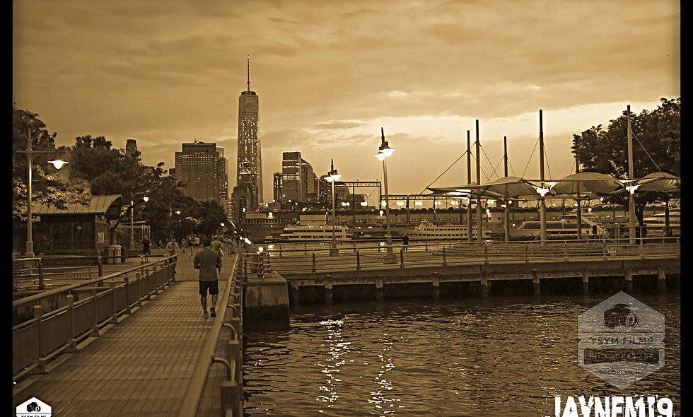 Vintage look of the Freedom Tower from the Hudson River on the westside of NYC