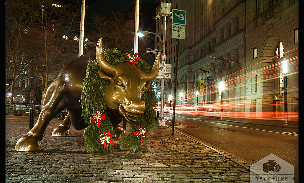 Holiday Bull statue. The Financial District, on Broadway. Wall St. New York