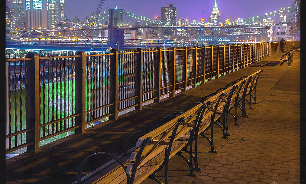 Brooklyn Promenade overlooking the Brooklyn Bridge & The Empire State