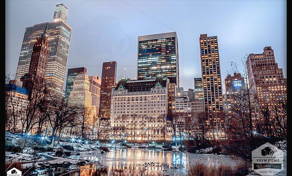 The Plaza Hotel Frozen Pond Night shot Central Park