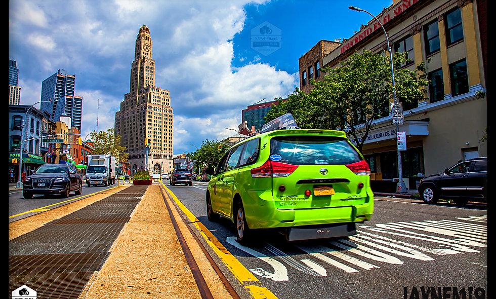 Williamsburg Bank and BK Green Taxi Shot. Post Cards