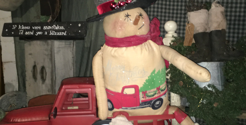 Snowman with Red Truck Shirt