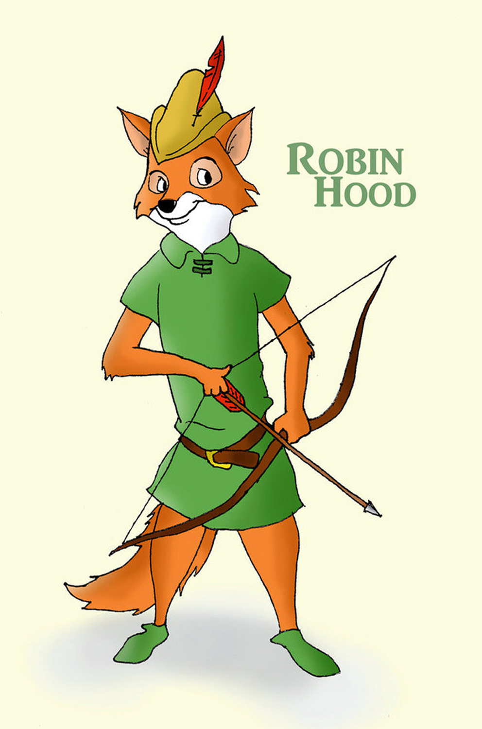 A cartoon fox wearing a Merry Men outfit and drawing an arrow from a bow.