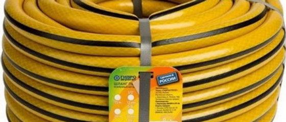 """Шланг 3/4"""" ПВХ Гидро армированный желтый с черной полосой 20м.+фитинг в подарок"""