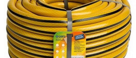 Шланг 1/2 ПВХ полив.армир.3-слойный Гидроагрегат желтый с черной полосой 25м