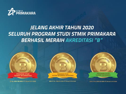 """Jelang Akhir Tahun 2020 Seluruh Program Studi STMIK PRIMAKARA Berhasil Meraih Akreditasi """"B"""""""