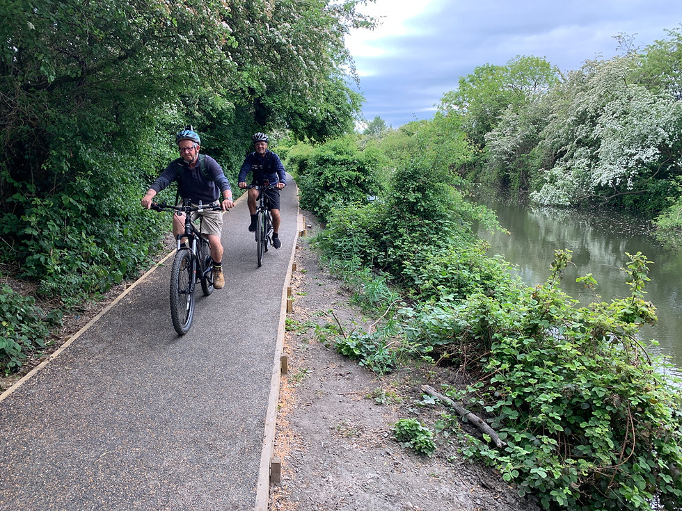 Cyclists Flexipave Pathway Canal.jpg