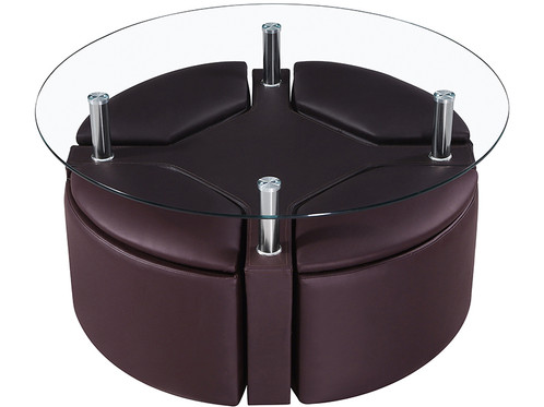 With a 10mm tempered glass top sitting above four chrome legs, this stylish coffee  table set makes the perfect centrepiece for entertaining. - Modern Coffee Table + 4 Hideaway Storage Stools FTA Furnishing