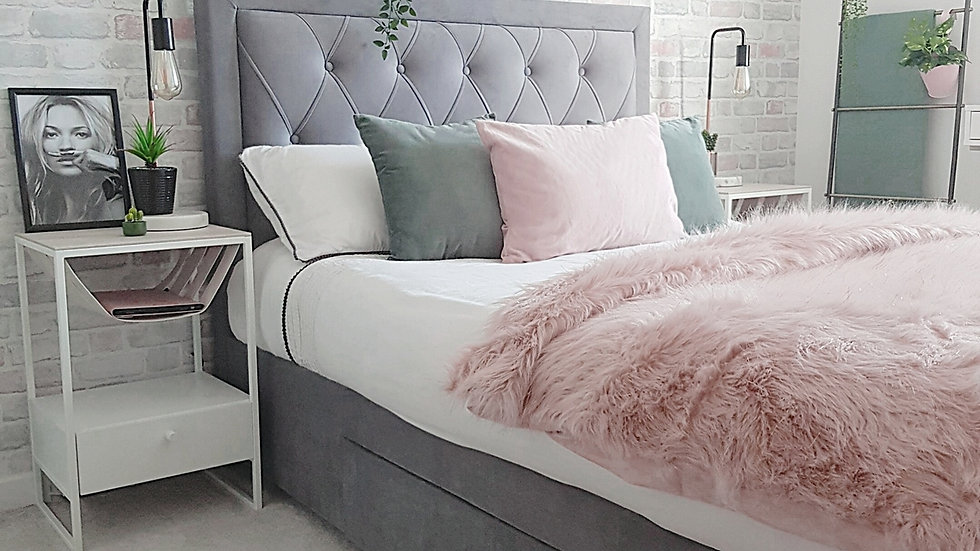 Elegant Diamond Tufted Headboard Bed With Storage Drawers in Grey 4FT6 5FT 6FT