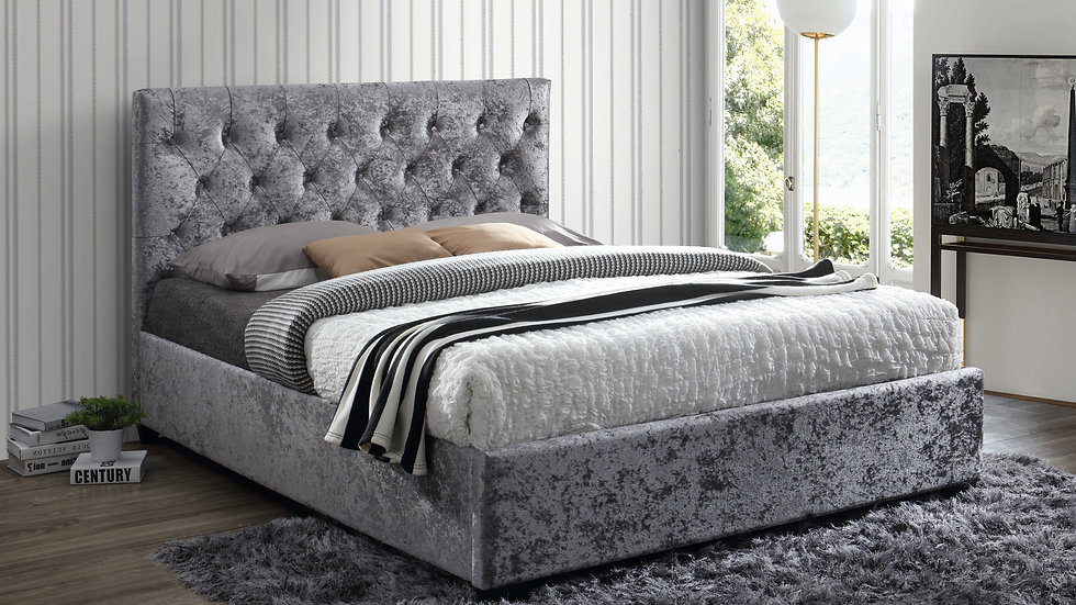 Modern Cologne Bed In Steel Crushed Velvet 4FT6 Double