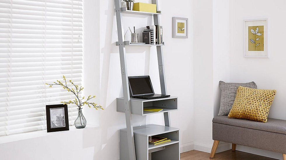 Modernistic Ladder Desk & Stool Available in Grey or White