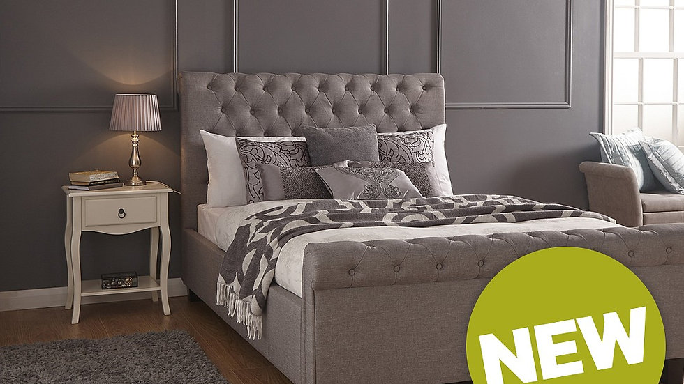 Layla Fabric Grey Ottoman Storage Side Lift Bed in 4ft6 Double 5ft King Size
