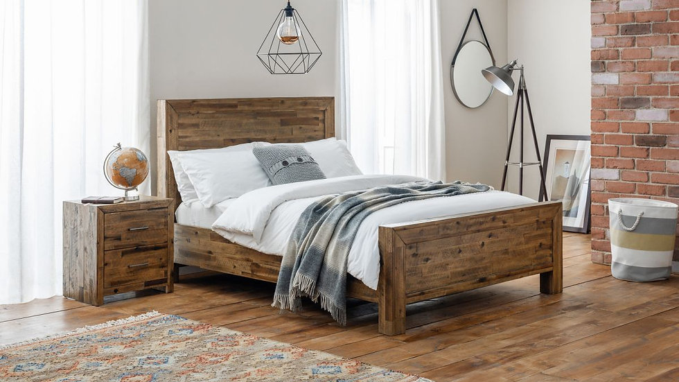 NEW Rustic Hoxton Countrified Solid Acacia Oak Finished Double Or King Bedstead