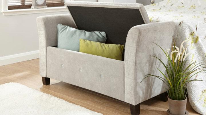 Soft Silver Chenille Fabric Diamante Window Seat Lift Up Storage