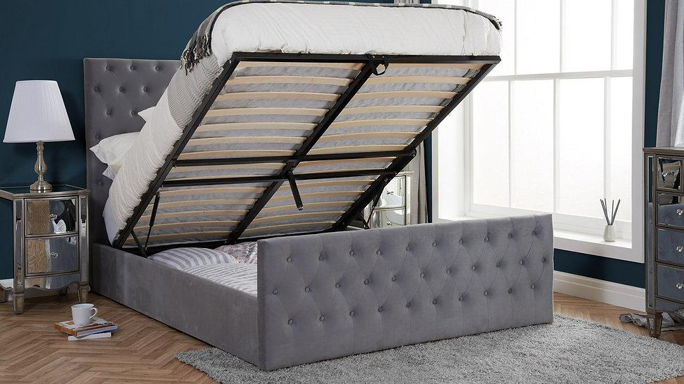 Luxury Grey Velvet Tufted Marquis Design Ottoman Storage Bed