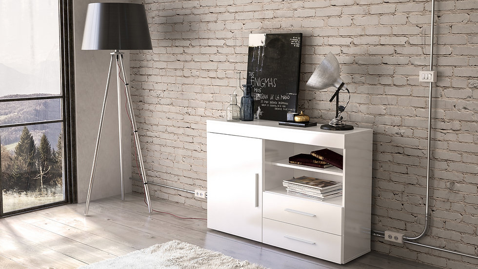 New Stylish Edgeware White 1 Door 2 Drawer Sideboard