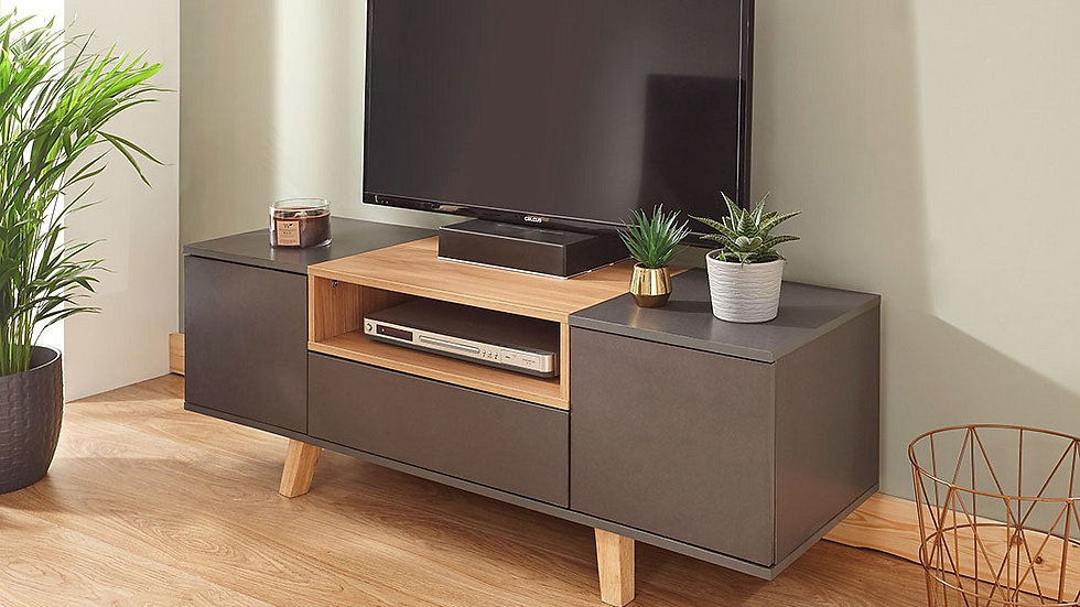 Contemporary Style Modena Grey TV Unit With Storage