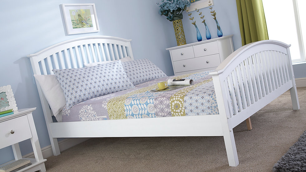 Contemporary Madrid Wooden High Foot End Bed Frame White