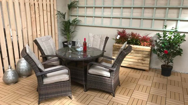 NEW Luxury Pair of High Back Dining Chairs in Grey Wicker with Pale Grey Cushion