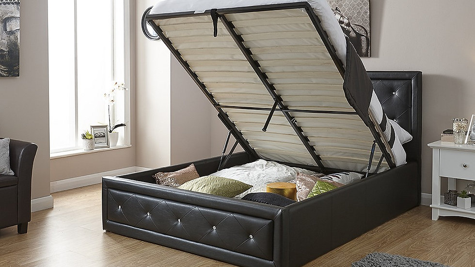 4FT6 5FT Faux Leather Diamante Ottoman Storage Bed