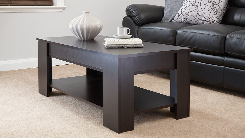 Contemporary Espresso Lift Up Coffee Table With Storage