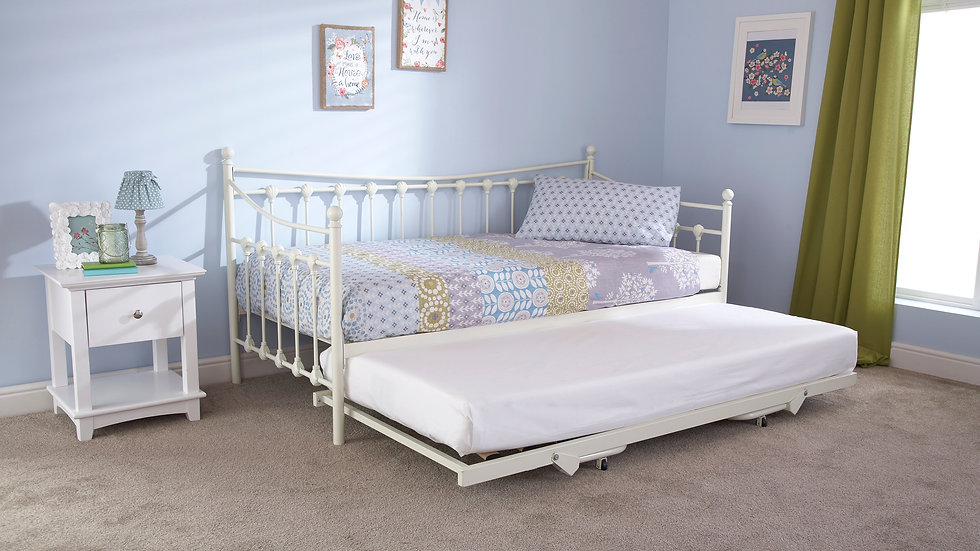 Elegant 3FT Memphis Day Bed And Trundle In Ivory
