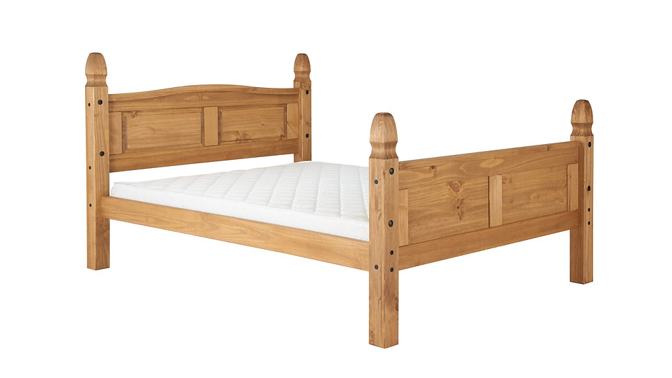 Traditional Charming Solid Pine High Footend Bed in 4ft 4ft6 or 5ft Mattress Opt