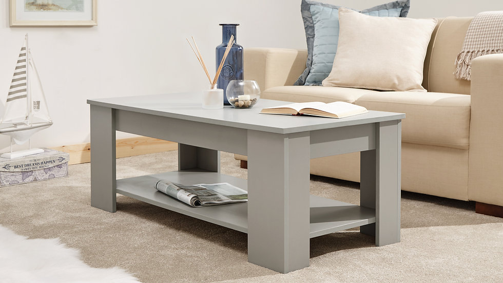 Contemporary Lift Up Coffee Table With Storage Available In 5 Luxurious Colours