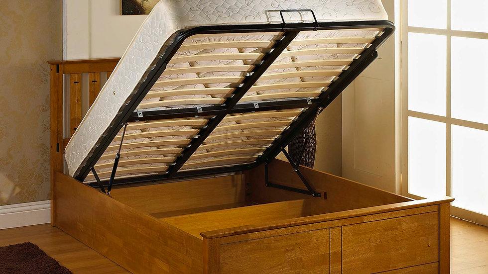 Phoenix 5ft Stunning Oak Ottoman Storage Bed