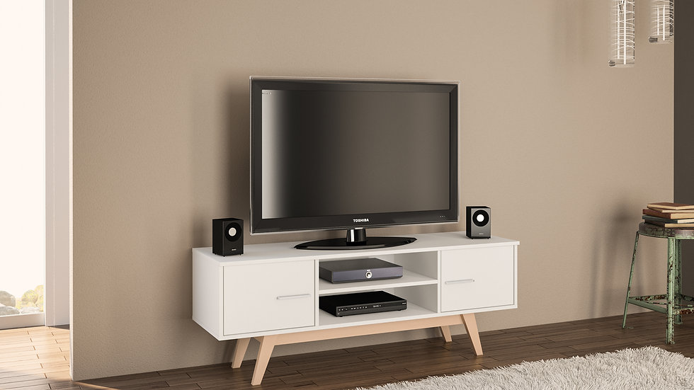 Contemporary New TV Unit 2 Doors Shelves White or Walnut/Black